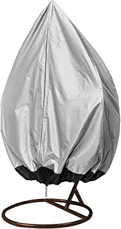 Coffee+Black Lawn Chair Cover Protector JJZ150 Hanging Egg Chair Cover Egg Swing Chair Dust Cover Heavy Duty Waterproof Patio Chair Cover with Zipper