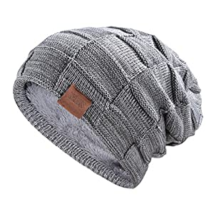 Beanie Hat for Men and Women Winter Warm Hats Knit Slouchy Thick Skull Cap Variegated Mix-Dark Gray by REDESS