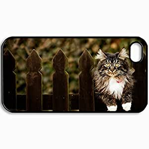 Customized Cellphone Case Back Cover For iPhone 4 4S, Protective Hardshell Case Personalized Cat Fence Background Black