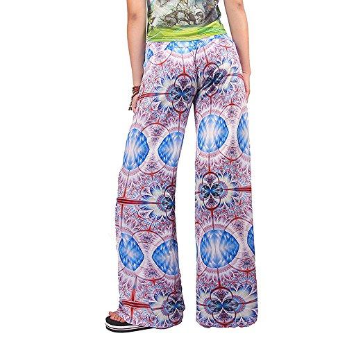 Ularma Pantalones de las mujeres, Stretch estampado Floral, cintura alta y pierna ancha pantalones largos multicolor 3