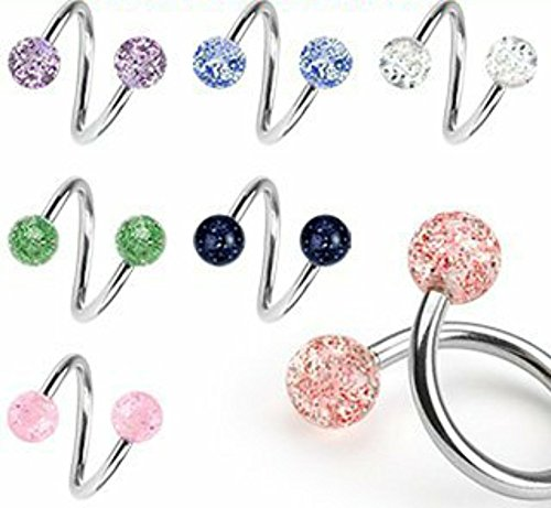 Body Accentz Lot of 7 Ultra Sparkle Spiral Twister Belly Navel Body Jewelry Piercing Bar Ring 14g - Navel Spiral Ring
