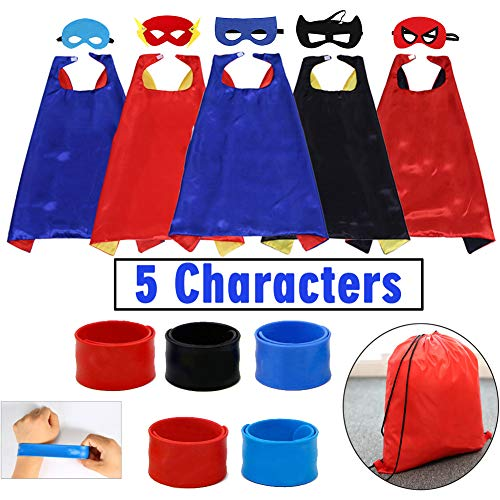 Dress up Costume Cape & Mask with Drawstring Backpack & Wristbands for Kids Birthday -