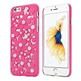 OVERMAL Sweet Girl ,Only for iPhone 6S case ,4.7 Inch Case,Hollow Out Pearl Flowers Back Case Cover Skin For iPhone 6S (Hot Pink)
