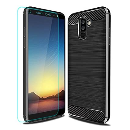 buy popular 0d0ed c344c Galaxy A6 Plus 2018 Case with HD Screen Protector, Galaxy A6+ 2018 Case,  YYQUEEN Slim Carbon Fiber and Anti-Shock and Anti-Slip Cover for Samsung ...