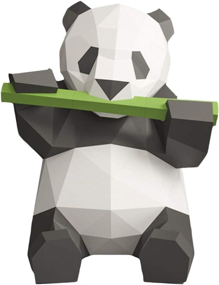 STOBOK Modelo de Papel 3D Panda Comiendo Bambú Papercraft Animal Rompecabezas Educativo Diy Artesanía Juguete Decoración Del Hogar Cumpleaños Regalo de Año Nuevo (Papel Iridiscente)