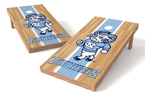 (Wild Sports NCAA College North Carolina Tar Heels 2' x 4' Hardwood Authentic Cornhole Game Set)