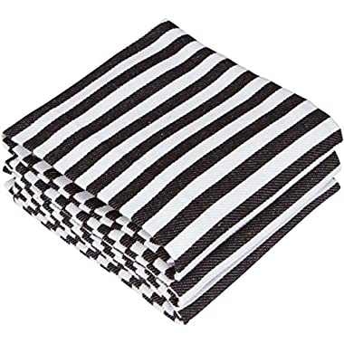 Pacific Home 100% Cotton Dish Towels - Set of 3 - Black and White Stripe