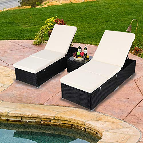 Do4U 3 Pcs Outdoor Patio Synthetic Adjustable Rattan Wicker Furniture Pool Chaise Lounge Chair Set with Table (9003-Black)