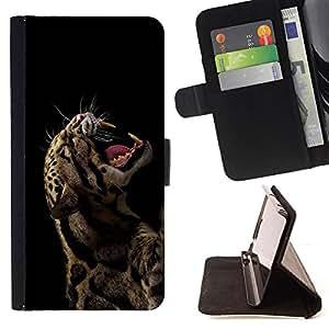 BullDog Case - FOR/Samsung Galaxy S6 EDGE / - / cool rawr roar leopard animal sexy fierce black /- Monedero de cuero de la PU Llevar cubierta de la caja con el ID Credit Card Slots Flip funda de cuer