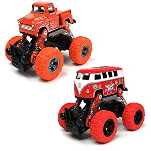 Toy Car Pullback Trucks, 2-Packs Alloy Toy Truck Toddler Toys, Pullback Cars with Shockproof Spring and Textured Rubber Tires, Friction Powered Fun Toys for Toddler Boys Girls Aged 3 and Above