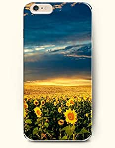 SevenArc Phone Case for iPhone 6 Plus 5.5 Inches with the Design of The blue sky and groups of sunflowers