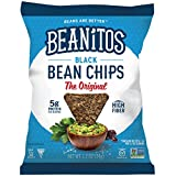 Beanitos Black Bean Chips with Sea Salt, Plant Based Protein, Good Source Fiber, Gluten Free, Non-GMO, Vegan, Corn Free Tortilla Chip Snack, 1.2 Ounce (Pack of 24)