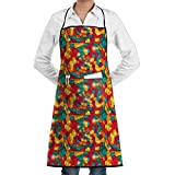 RZ GMSC Novelty Lights Colorful Circles Kitchen Chef Apron With Big Pockets - Chef Apron For Cooking,Baking,Crafting,Gardening And BBQ