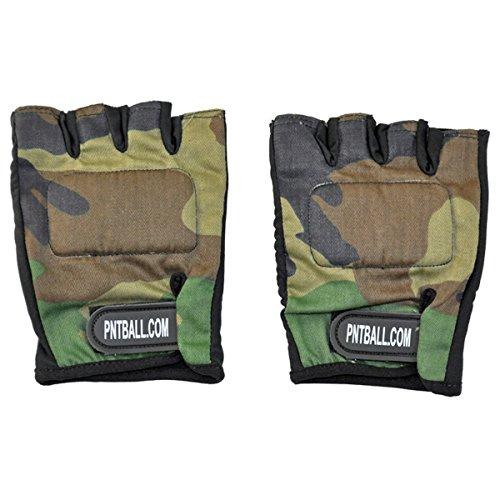 3Skull Paintball Half Finger Gloves - Woodland Camo - Large