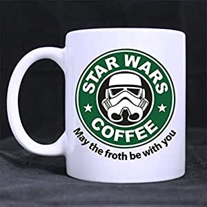 May The Froth Be With You Star Wars Mug - Custom 11 oz Coffee Cups - Dishwasher and Microwave Safe