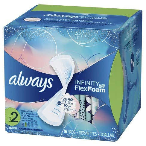 Always Pads Size 2 Infinity With Flex Foam 14 Count Heavy Flow (2 Pack) ()