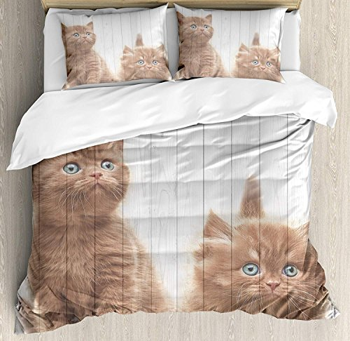 Animal Luxury Brushed Microfiber Duvet Cover Set, Twin - Ultra Soft, Hypoallergenic Bedding Set, Machine Washable, Cute Kittens Baby Cats Sweet Feline Kids Nursery Child Kitty Theme Artwork Print -