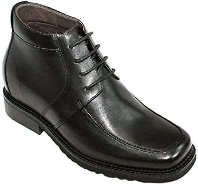 CALTO - G9905 - 3.2 Inches Taller - Size 6 D US - Height Increasing Elevator Shoes (Black Leather Lace-up Square-toe Boots)