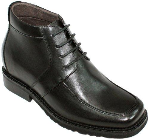 calto–g9905–8,1cm Grande Taille–Hauteur Augmenter Chaussures ascenseur (Noir Square-Toe à lacets Bottes)