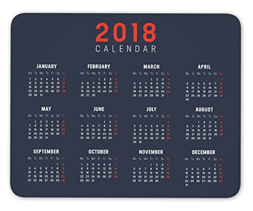 Year 2018 minimalist calendar Mouse pad gaming mouse pad Mousepad Nonslip Rubber Backing