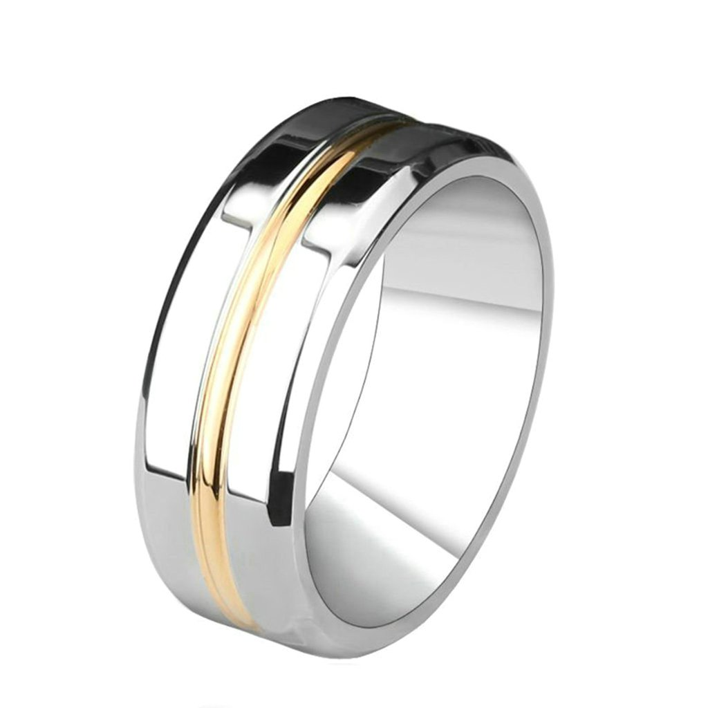 Bishilin Tungsten Steel High Polished Unique 8MM Plain Men Wedding Rings Size 13