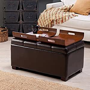 Amazon Com Livingston Storage Ottoman With Tray Tables