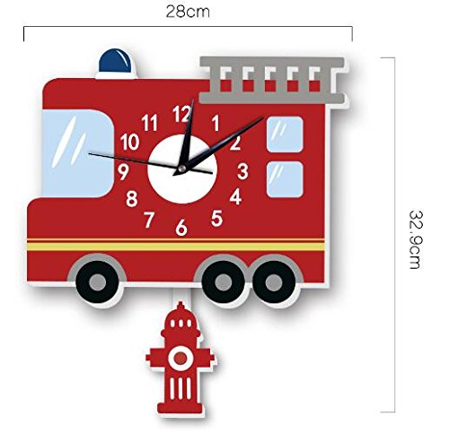 Sportskindom American fire truck wall clock Slient quartz wall clock children's background wall cartoon decoration (1) by Sportskindom (Image #5)
