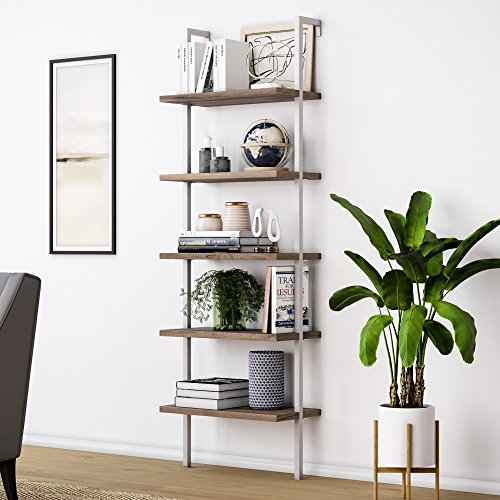 - Nathan James 65502 Theo Wood Ladder Bookcase Rustic Wood and Metal Frame, White/Brown
