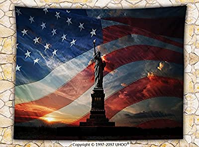 American Decor Fleece Throw Blanket Statue of Liberty Torch National Monument Liberty Island Sunrise with American Flag Scenery Throw Black