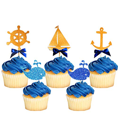 24 Pcs JeVenis Nautical Cupcake Toppers Ocean Cupcake Toppers Nautical Cake Decoration Sailing Yacht Boat Pirate Ship Whale Cake Decorations for Baby Shower Birthday Party