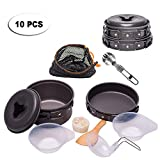 Outton 10 PCS Lightweight Foldable Outdoor Cookware Set Pots&Pans, Nonstick Camping Stove for Picnic, Hiking, Backpacking, Heating Food Bowls for 1-2 Persons Compact with Mesh Bag For Sale