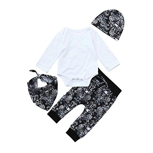 Franterd 4Pcs Halloween Clothes Sets, Baby Solid Romper Tops + Bibs + Cap +Long Pants Outfits