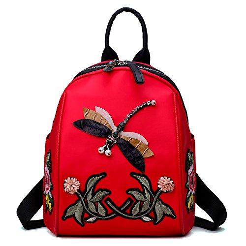 Femmes sac à dos en nylon étanche grande capacité libellule brodé sac à dos collège étudiant sac de voyage sac à bandoulière sac à main Red