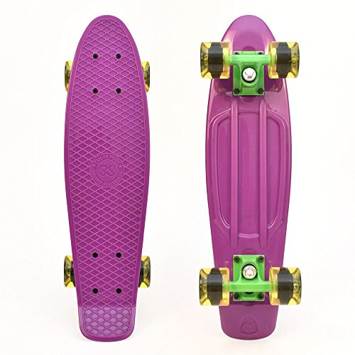 27 Inch Ridge Skateboards Children Kids Big Brother Large Retro Cruiser-White//Clear Green Wheels