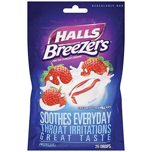 Halls Breezers Creamy Strawberry Flavor Throat Drops 30 Ct  Bag Pack Of 2