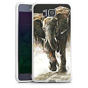 Samsung Galaxy Alpha Funda Premium Case Protección cover elefante Natural Dibujo