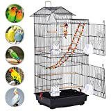 Yaheetech Roof Top Large Parakeet Flight Bird Cage for Mid-sized Parrots Cockatiels Sun Conures Green Cheek Parakeets Budgies Lovebird Parrotlets Canary Finch Pet Bird Cage w/1 Ladder & 2 Hanging Toys Larger Image