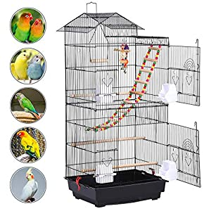 YAHEETECH 39-inch Roof Top Large Flight Parrot Bird Cage for Small Quaker Parrot Cockatiel Sun Parakeet Green Cheek…