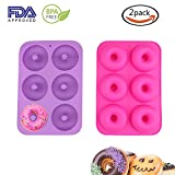 Donut Pan,2 Pack Silicone Donut Molds Non-Stick Safe Baking Tray Maker Pan for Oven Cake Biscuit (Rose Red+Purple)