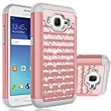 Galaxy Grand Prime Case, G530 Case, HengTech (TM) Durable Hard & Soft Hybrid Rhinestone Bling Diamond Armor Defender Case Cover for Samsung Galaxy Grand Prime / Go Prime