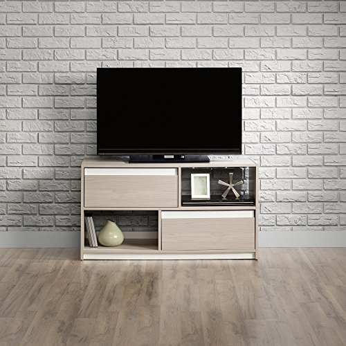 (Sauder 417119 Square 1 TV Stand, Grey Ash Finish, Holds up to a 47
