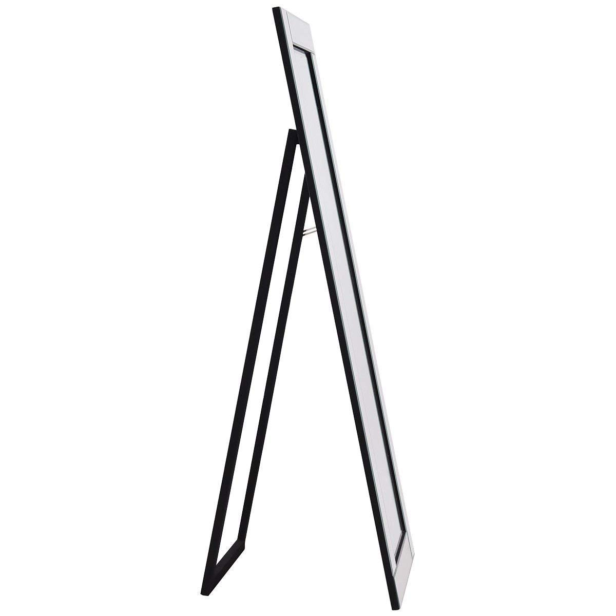 Giantex Full Length Dressing Mirror Wooden Frame Home Bedroom Floor Free Standing Mirror Silver