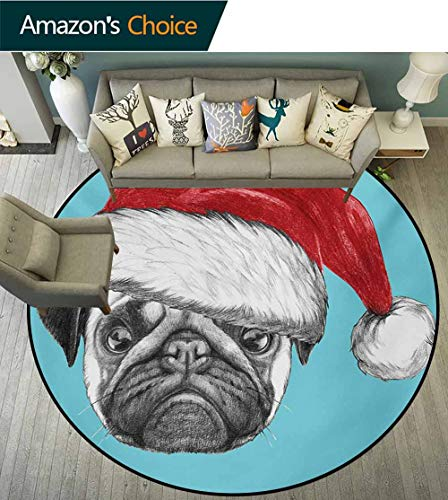 RUGSMAT Pug Computer Chair Floor Mat,Dog Portrait with Santa Hat Christmas Imagery Fun Illustration On Blue Background Printed Round Carpet for Children Bedroom Play Tent,Round-47 Inch