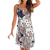 Quelife Dress for Women Casual Bohemia Printed Sleeveless Summer Halter Dresses Girl Ladies for Party (White,XL)