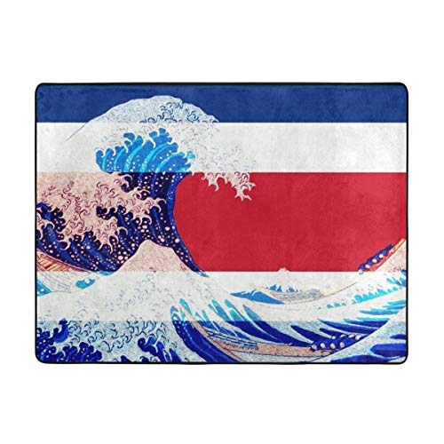 Non-Slip Area Rug Costa Rica Flag and Wave Off Kanagawa Provides Protection and Cushion Living Room Dining Room Office for Floors