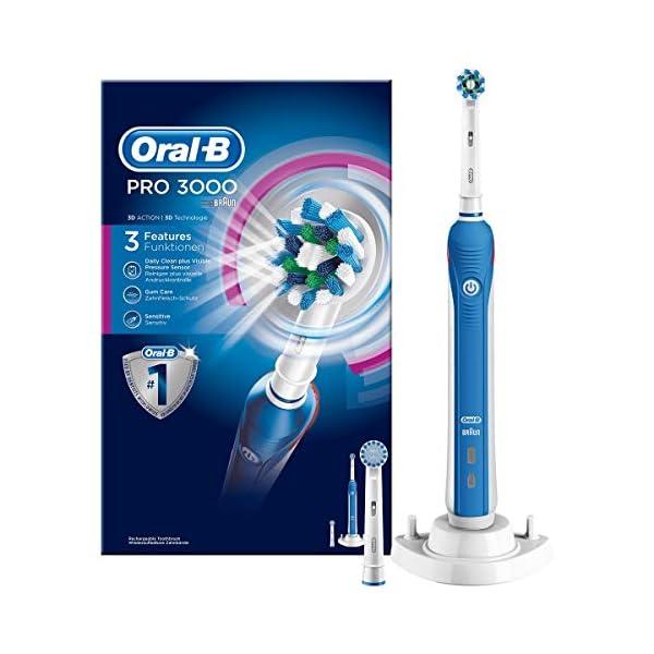 Oral-B Pro 3000 - Cepillo de dientes eléctrico de rotación, color blanco y azul 2