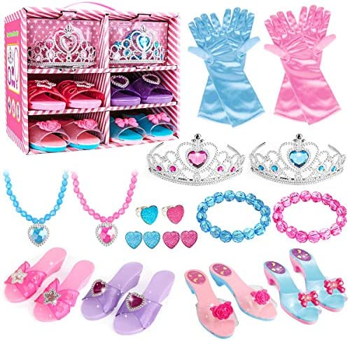 Meland Princess Dress Up Shoes and Jewelry Boutique – 4 Pairs of Play Shoes and Pretend Jewelry Toys Princess Accessories Play Gift Set for Toddlers Little Girls Aged 3,4,5,6 Years Old