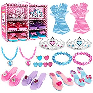 Best Epic Trends 510hxYmr0DL._SS300_ Meland Princess Dress Up Shoes and Jewelry Boutique - 4 Pairs of Play Shoes and Pretend Jewelry Toys Princess…