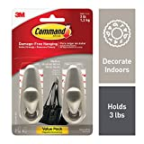 Command FC12-BN-2ES Medium Forever Classic Value Pack, Brushed Nickel, 2 Hooks, 4 Strips