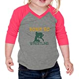 Cute Rascals Born to Wrestling Sport Infants 60/40 Cotton/Polyester Jersey Shirt - Gray Hot Pink, 12 Months